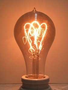 Circa 1900 Carbon Filament Light Bulb