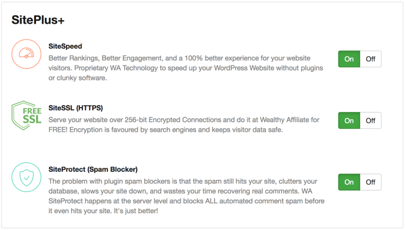 Site Performance, Spam Protection And SSL Are Included at Wealthy Affiliate!
