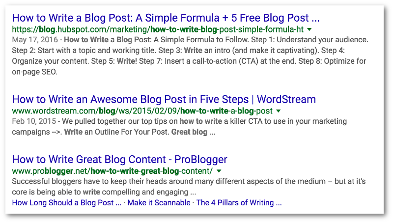 Google SERP Example