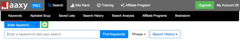Jaaxy PRO Keyword Search Tool Dashboard